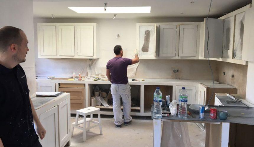 Spraying kitchen units