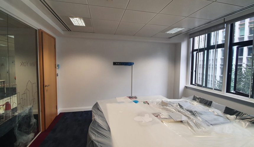 Whiteboard painted walls in London city office