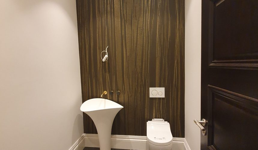 basement toilet spray finished and Phillip Jeffries wall covering