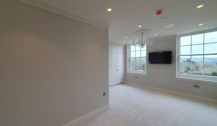 Bedroom painted to new build house