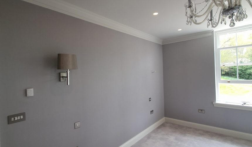 Fabric wall covering to bedroom in new build property Kent
